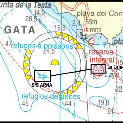 Mapa místa ztroskotání parníku S/S ARNA ( EL Vapor)