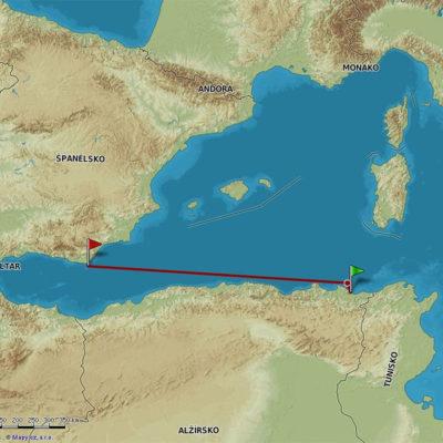Místo ztroskotání a poslední trasa čsl. parníku ARNA u mysu Cabo de Gata