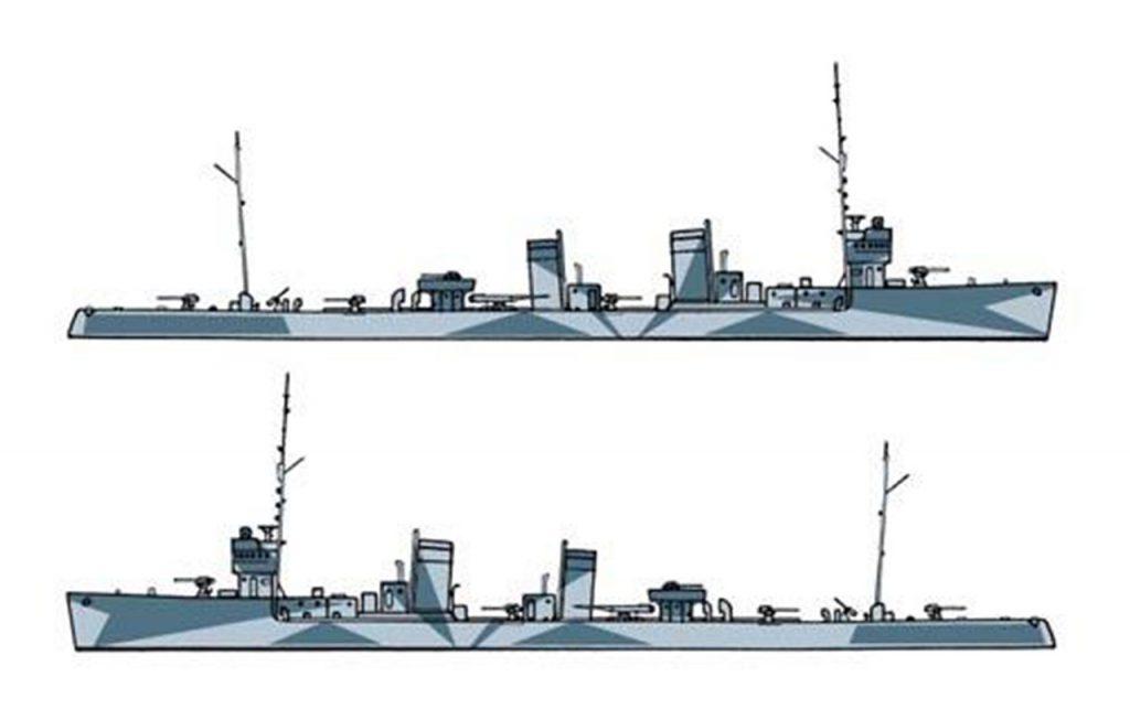 Barevný nátěr italských válečných lodí (1942-1943) Italská torpédovka Audace 1942